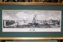 Печать на акварельной бумаге гравюры Санкт-Петербурга 18-го века с оформлением в деревянную раму с паспарту с деревянным слипом и музейным стеклом