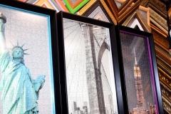 триптих из пазлов в стильных пластиковых багетных рамах с матовым стеклом