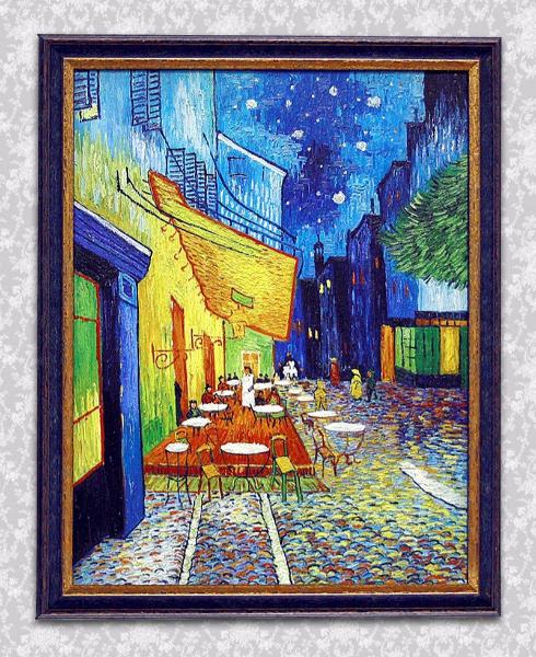 Ван Гог Терраса кафе в Арле ночью. Печать на сатиновом холсте Epson Satin с оформлением в раму из дерева