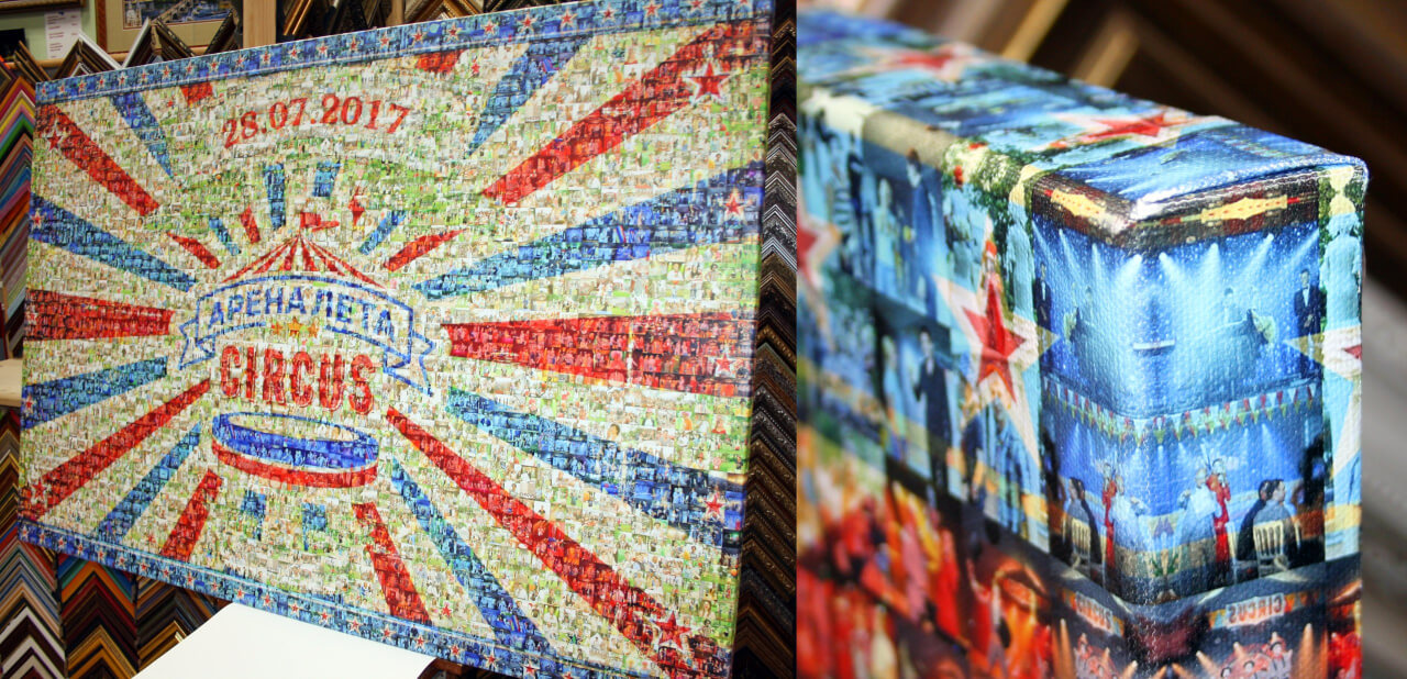 фотомозаика на холсте 80х120 см с галерейной натяжкой на европодрамник