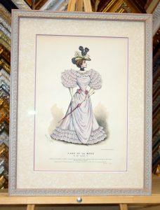 Репродукция открытки в двойном паспарту с итальянским багетом