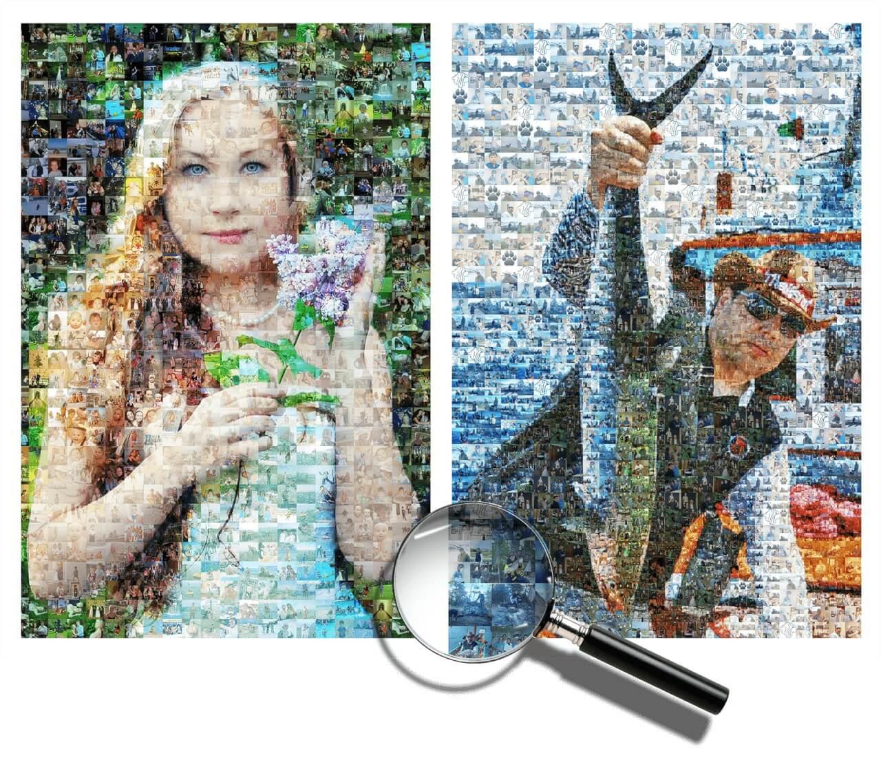 Фотомозаика портрет из фото на холсте